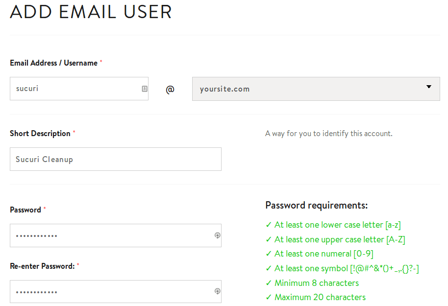 MediaTemple Add Email User