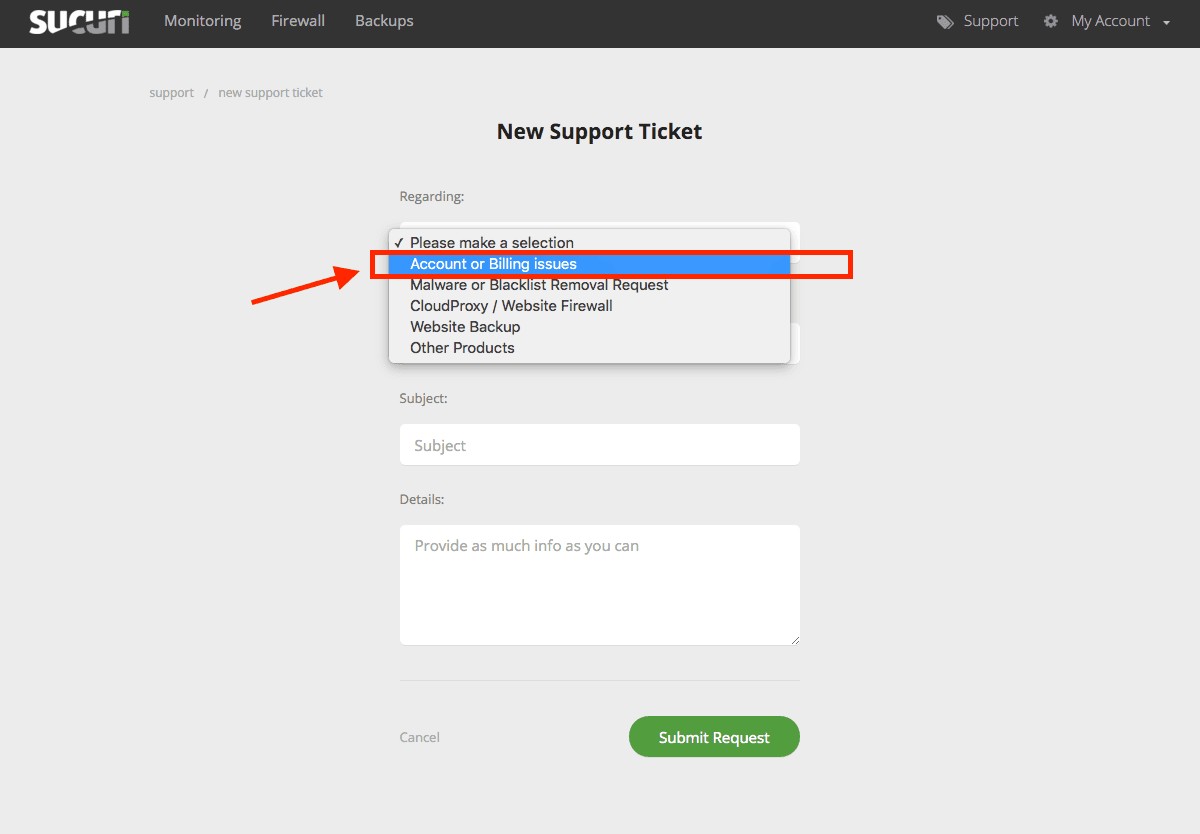 How do I open a general support ticket? | Sucuri Docs