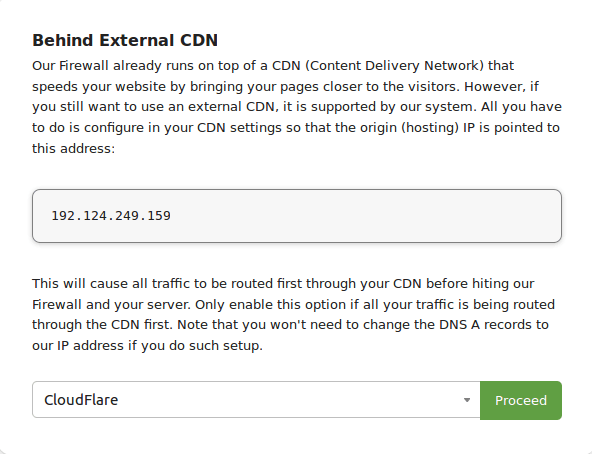 Sucuri Firewall External CDN Settings