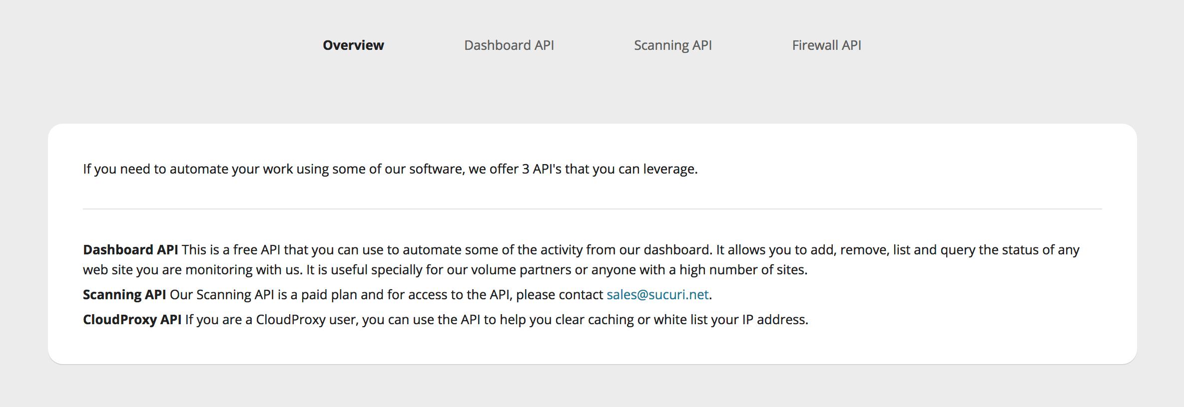 Overview API